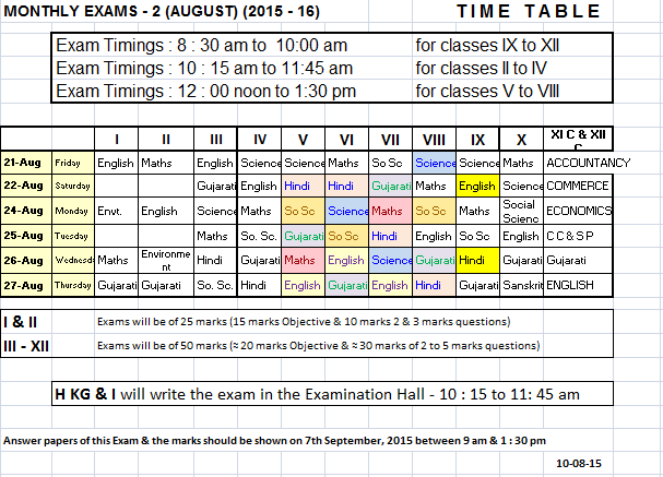 Time table of second monthly exam the month of august for Tekerala org time table 2015